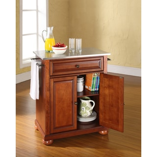 Alexandria Stainless Steel Top Portable Kitchen Island in Classic Cherry Finish