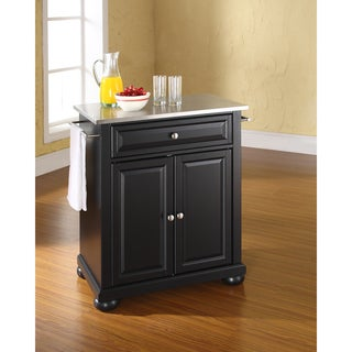 Alexandria Black Stainless Steel Top Portable Kitchen Island