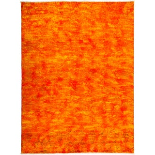 Milim Overdyed Orange Wool Hand-knotted Area Rug (7'10 x 10'5)