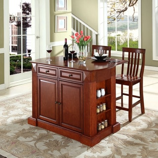 "Coventry Drop Leaf Breakfast Bar Top Kitchen Island in Cherry Finish with 24"" Cherry School House Stools"