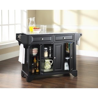 LaFayette Solid Granite Top Kitchen Island in Black Finish - Thumbnail 0