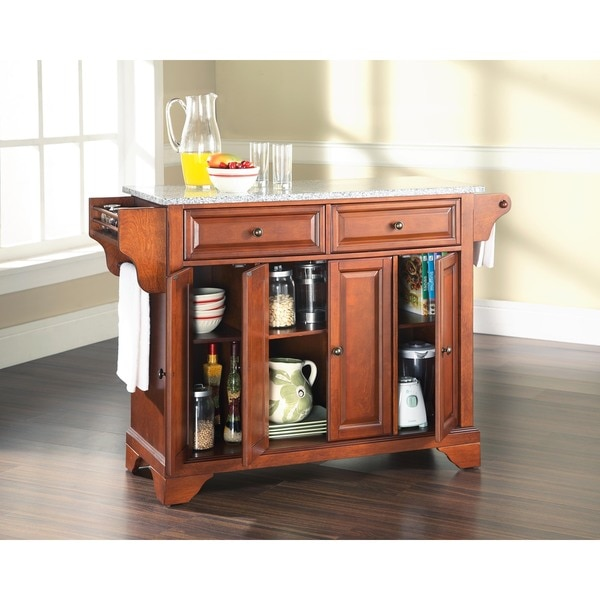 LaFayette Solid Granite Top Kitchen Island in Classic Cherry Finish