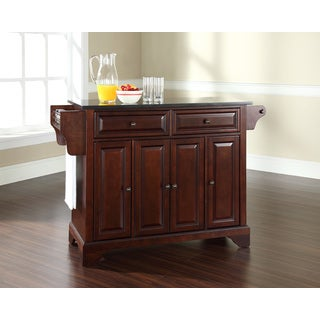 LaFayette Solid Black Granite Top Kitchen Island in Vintage Mahogany Finish