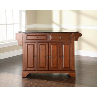 LaFayette Black Granite Top Kitchen Island in Cherry
