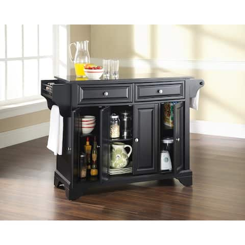 Copper Grove Kanawha Solid Black Granite Top Kitchen Island in Black Finish - N/A