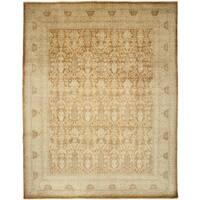 Etaasna Beige Wool Hand-knotted Area Rug (8'4 x 10'3)