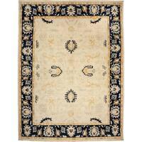 Jalajh Ivory Wool Hand-knotted Area Rug - 8'10 x 11'10