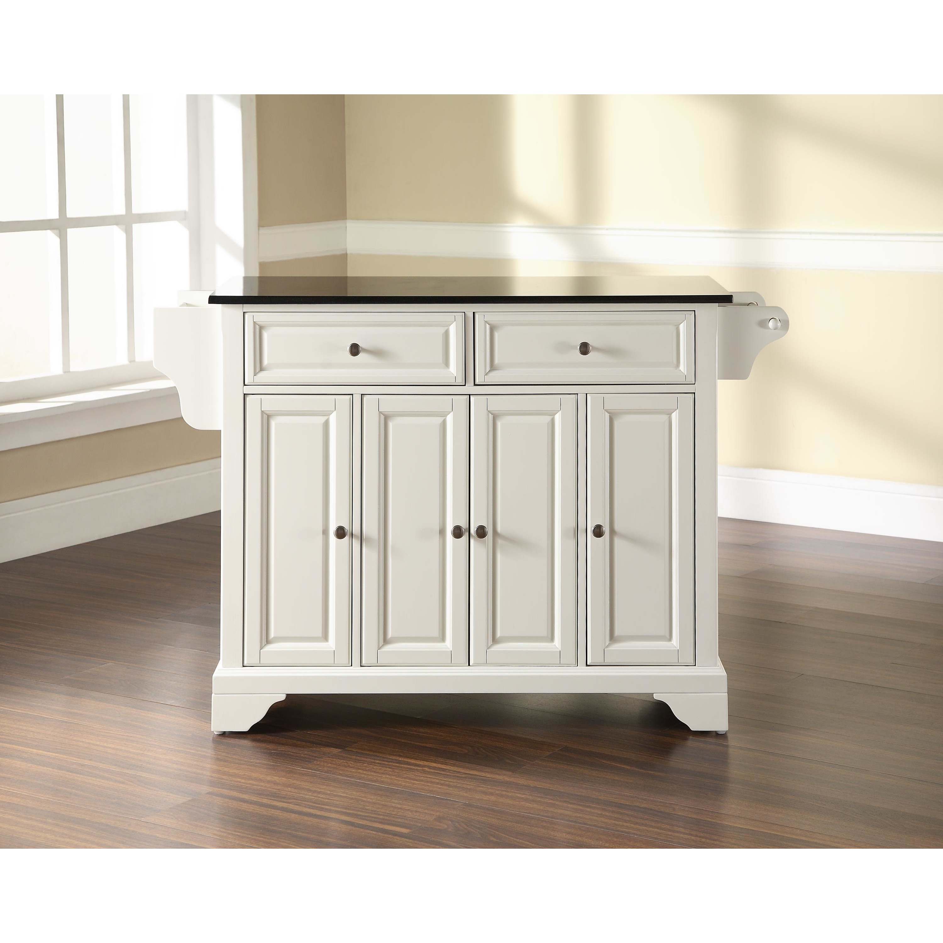 LaFayette Solid Black Granite Top Kitchen Island in White Finish