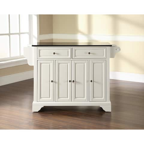The Gray Barn Tipperary Solid Black Granite Top Kitchen Island in White