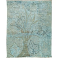 Karqa Hand-knotted Overdyed Blue Wool Area Rug - 8'3 x 10'5