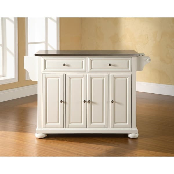 Alexandria Stainless Steel Top Kitchen Island in White Finish
