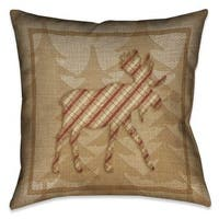 Laural Home Rustic Cabin Moose Plaid Indoor- Outdoor Decorative Pillow  20-inch