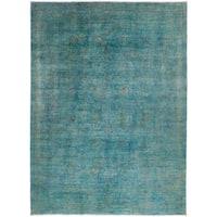 Yasoush Hand-knotted Overdyed Blue Wool Area Rug - 10'2 x 13'10