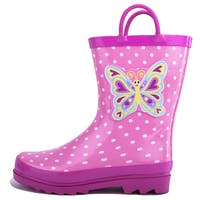 Puddle Play Girls Pink Butterfly Polka-Dot Rain Boots (Toddler / Little Kids)