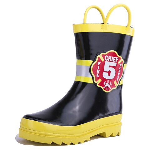 Puddle Play Little Boy's Black Fire Chief Rain Boots (Toddler / Little Kids)