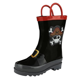 Puddle Play Boy's Pirate Black Rain Boots (Toddler/Little Kid)