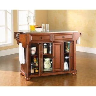 Alexandria Stainless Steel Top Kitchen Island in Classic Cherry Finish