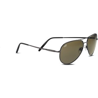 Serengeti Men's Gunmetal Green Lens Polarized Aviator Sunglasses