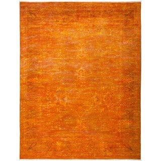 Hennadad Overdyed Orange Wool Hand-knotted Area Rug (9'2 x 11'10)