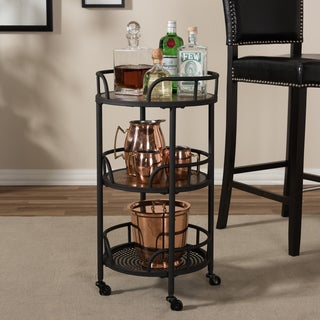 Rustic Industrial Style Metal and Wood Mobile Serving Cart by Baxton Studio