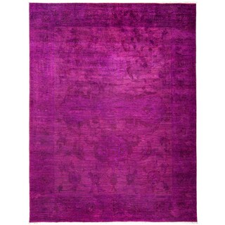 Pink Wool Overdyed Khanabja Hand-Knotted Area Rug - 9'1 X 11'10