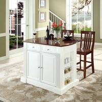 """Coventry Drop Leaf Breakfast Bar Top Kitchen Island in White Finish with 24"""" Cherry School House Stools"""
