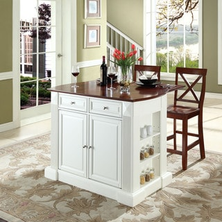 "Coventry Drop Leaf Breakfast Bar Top Kitchen Island in White Finish with 24"" Cherry X-Back Stools"