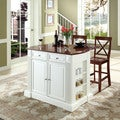 """Coventry Drop Leaf Breakfast Bar Top Kitchen Island in White Finish with 24"""" Cherry X-Back Stools"""