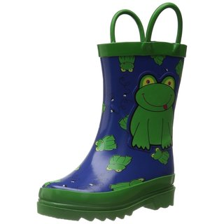 Puddle Play Little Boy's Green Frog Rain Boots Sizes Toddler/Little kids