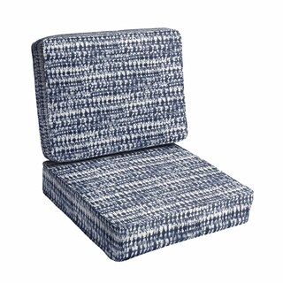 Porter Graphic Indigo and Navy Indoor/ Outdoor Corded Seat and Back Chair Cushion Set