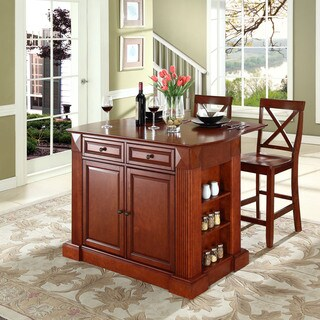 """Coventry Drop Leaf Breakfast Bar Top Kitchen Island in Cherry Finish with 24"""" Cherry X-Back Stools"""
