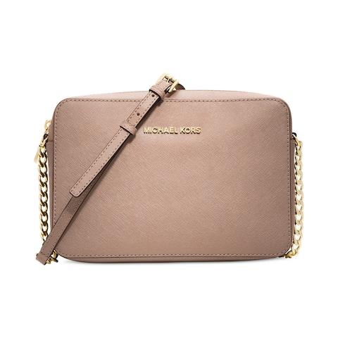 a91540e694d1 Michael Kors Jet Set Saffiano Soft Pink Fawn Large Travel Crossbody Bag