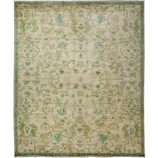 Manuhan Hand-knotted Green Wool Area Rug (8'7 x 10')