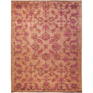 Sikhla Pink Wool Hand-knotted Area Rug (9'5 x 12'2)