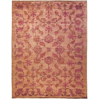 Sikhla Pink Wool Hand-knotted Area Rug - 9'5 x 12'2