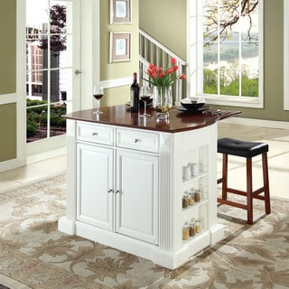 "Coventry Drop Leaf Breakfast Bar Top Kitchen Island in White Finish with 24"" Cherry Upholstered Saddle Stools"