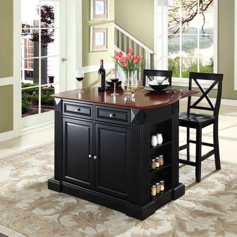 "Coventry Drop Leaf Breakfast Bar Top Kitchen Island in Black Finish with 24"" Black X-Back Stools"