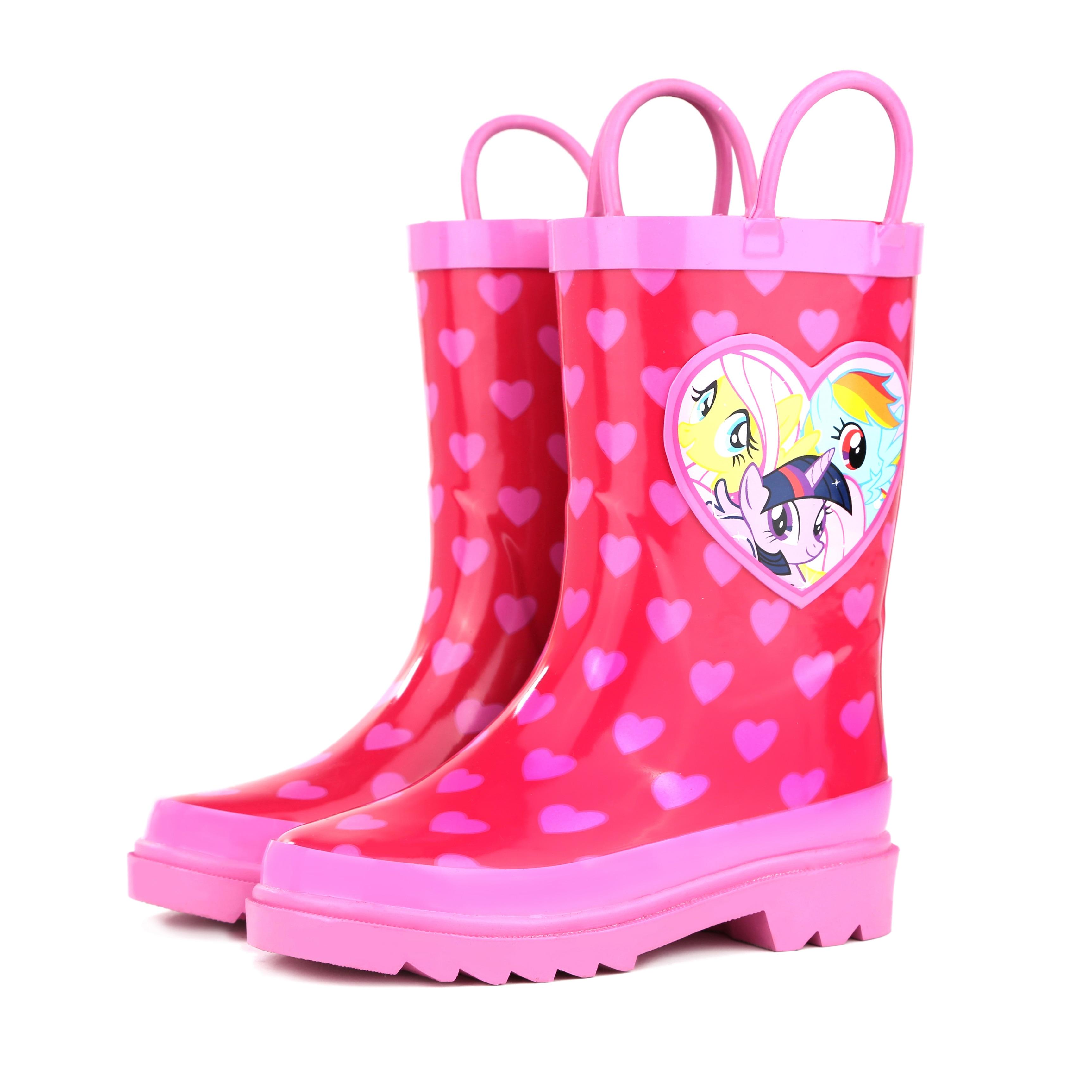 Foxfire Girls Pink Rainbow Unicorn Print Side Handle Rain Boots 11-3 Kids