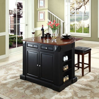 """Coventry Drop Leaf Breakfast Bar Top Kitchen Island in Black Finish with 24"""" Black Upholstered Square Seat Stools"""