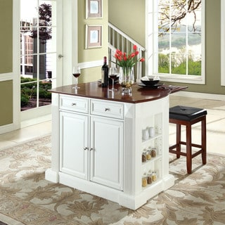 "Coventry Drop Leaf Breakfast Bar Top Kitchen Island in White Finish with 24"" Cherry Upholstered Square Seat Stools"