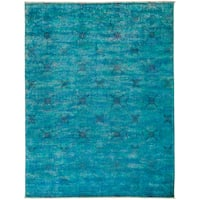 Overdyed Genamleh Blue Wool Hand-knotted Area Rug (9' x 11'7)