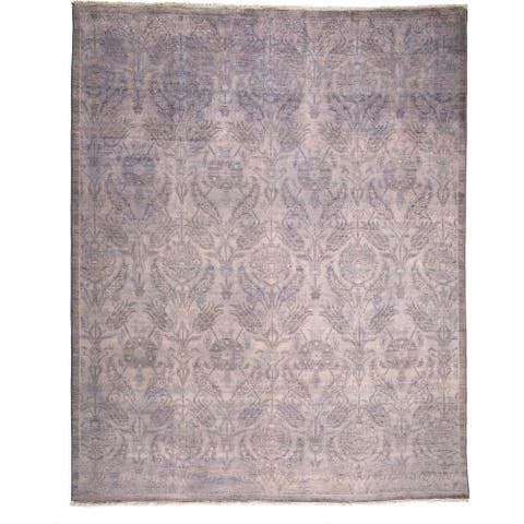 "Dhudah Purple Wool Overdyed Hand-knotted Area Rug (8'1 x 10') - 8'1"" x 10'/Surplus"