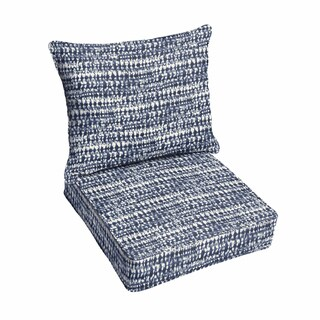 Porter Graphic Indigo and Navy Indoor/ Outdoor Corded Chair Cushion and Pillow Set