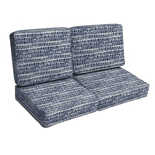 Porter Graphic Indigo and Navy Indoor/ Outdoor Loveseat 4-pc Corded Cushion Set