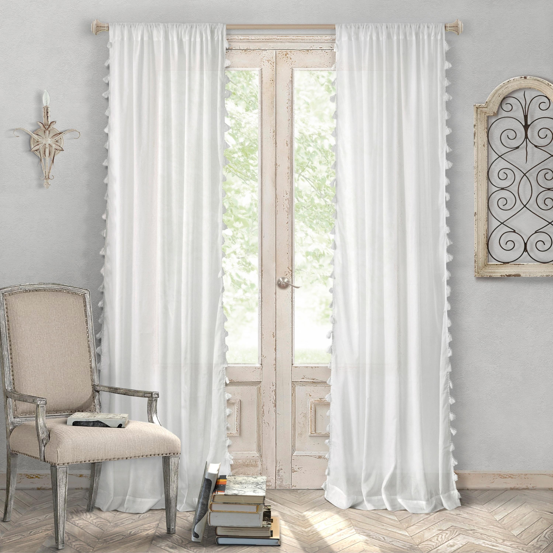 Bianca Semi Sheer Window Curtain With Tassels On Sale Overstock 15976735