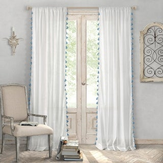 Elrene Bianca Tassel Cotton Curtain Panel