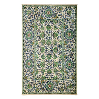 """Denilpasa Hand Knotted Area Rug (6'1"""" X 9'10"""") (Option: Green)"""