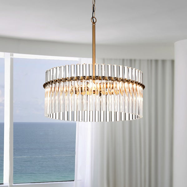 Casandra 4-light Brushed Brass Pendant Crystal Chandelier
