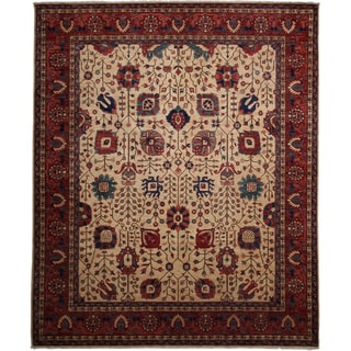 """Shadin Hand-knotted Red Wool Area Rug (8'4x9'10) - 8'4"""" x 9'10"""""""
