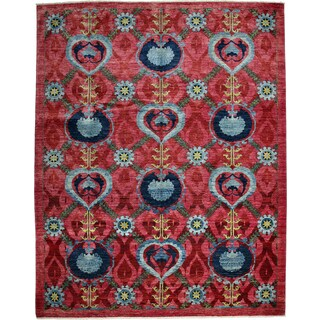 Giza Multicolor Wool Hand-knotted Area Rug (9'1 x 11'5)